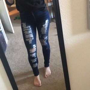 Fashion Nova High waisted distressed  jeans